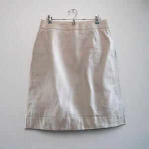 J Crew 100% Linen Lined Pencil Knee Length Skirt
